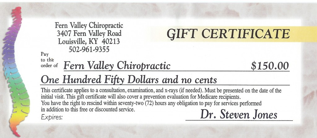 chiropractic gift certificate